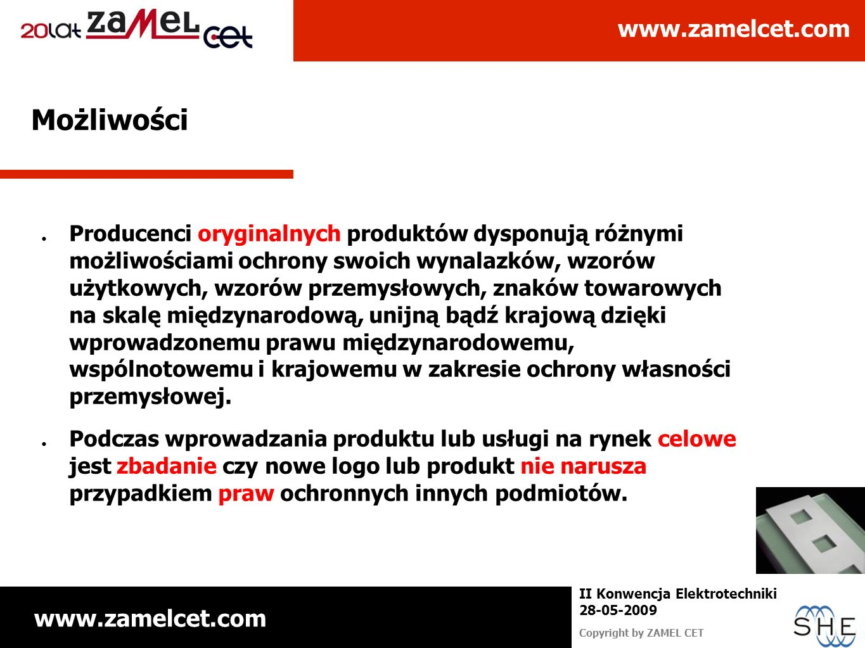 www.zamelcet.com Copyright by ZAMEL CET II Konwencja Elektrotechniki 28-05-2009 Możliwości Producenci oryginalnych produktów dysponują różnymi możliwo