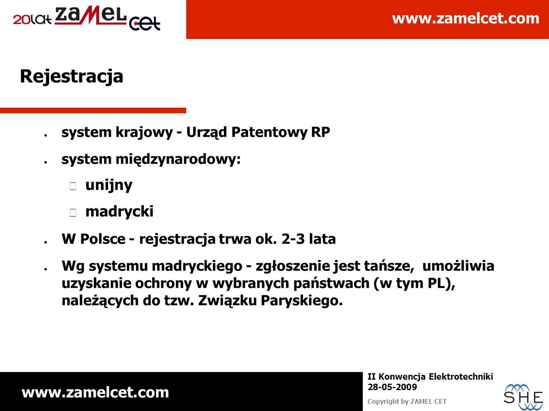 www.zamelcet.com Copyright by ZAMEL CET II Konwencja Elektrotechniki 28-05-2009 Rejestracja system krajowy - Urząd Patentowy RP system międzynarodowy: