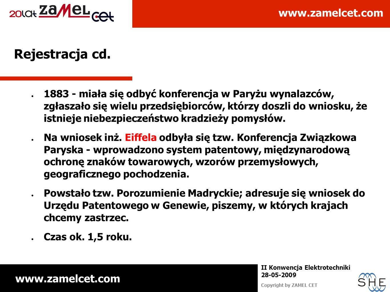 www.zamelcet.com Copyright by ZAMEL CET II Konwencja Elektrotechniki 28-05-2009 Rejestracja cd. 1883 - miała się odbyć konferencja w Paryżu wynalazców