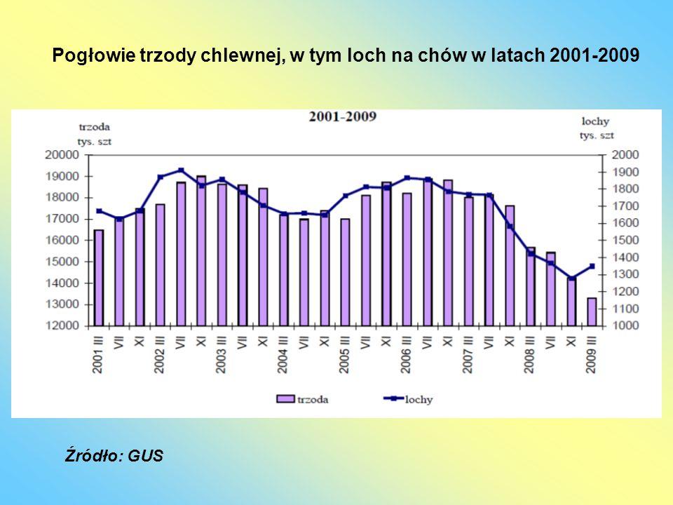 Pogłowie trzody chlewnej, w tym loch na chów w latach 2001-2009 Źródło: GUS