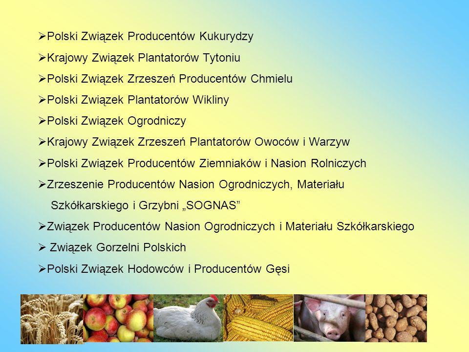Polski Związek Producentów Kukurydzy Krajowy Związek Plantatorów Tytoniu Polski Związek Zrzeszeń Producentów Chmielu Polski Związek Plantatorów Wiklin