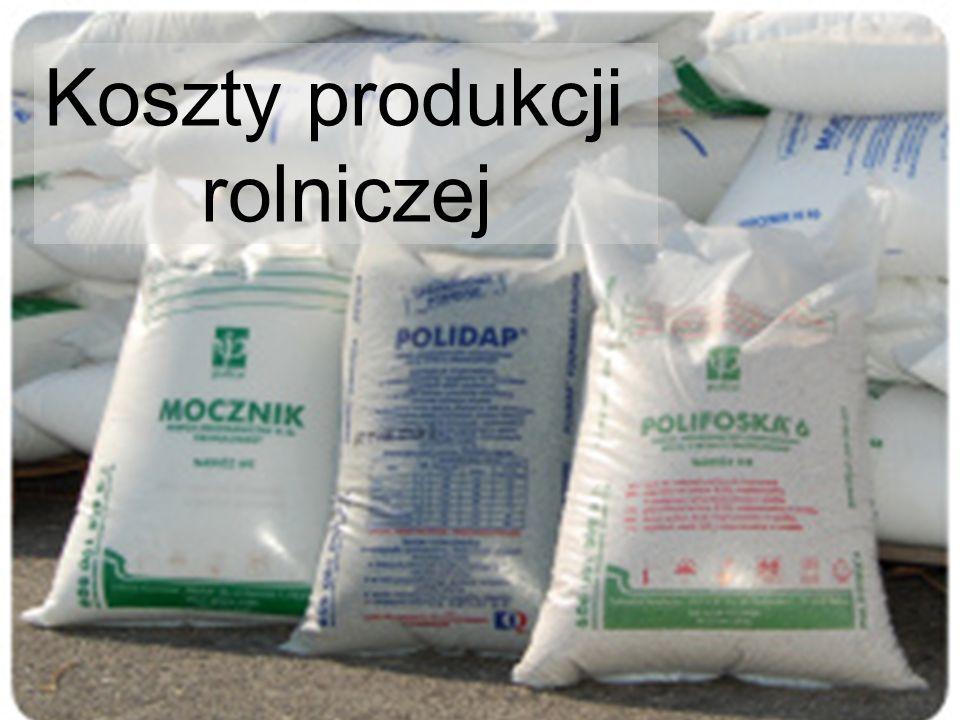 Ceny wybranych nawozów mineralnych (zł/dt) Źródło: IERiGŻ-PIB
