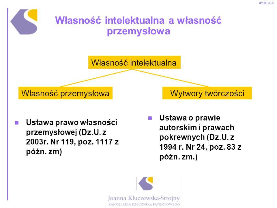 © 2008 JK-S Własność intelektualna a własność przemysłowa Ustawa prawo własności przemysłowej (Dz.U. z 2003r. Nr 119, poz. 1117 z późn. zm) Ustawa o p
