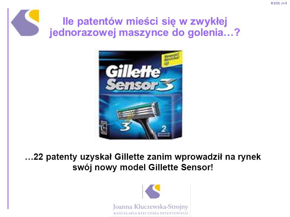© 2008 JK-S Ile patentów mieści się w zwykłej jednorazowej maszynce do golenia…? …22 patenty uzyskał Gillette zanim wprowadził na rynek swój nowy mode
