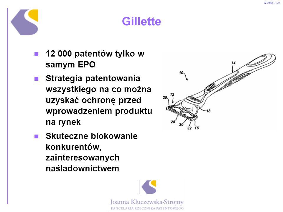 © 2008 JK-S Gillette 12 000 patentów tylko w samym EPO Strategia patentowania wszystkiego na co można uzyskać ochronę przed wprowadzeniem produktu na