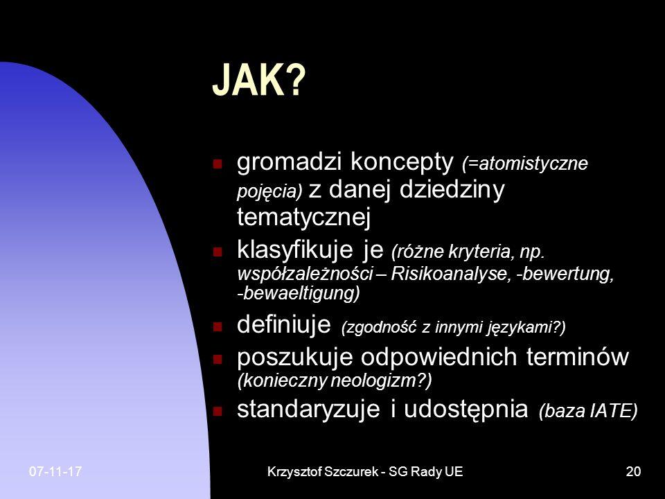07-11-17Krzysztof Szczurek - SG Rady UE20 JAK? gromadzi koncepty (=atomistyczne pojęcia) z danej dziedziny tematycznej klasyfikuje je (różne kryteria,