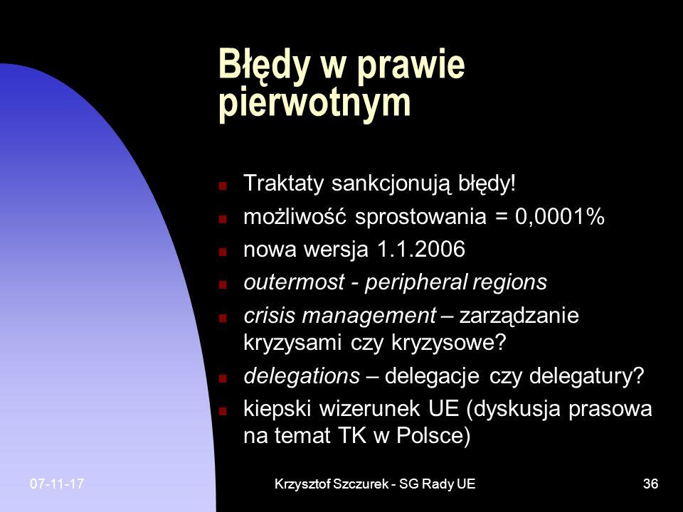 07-11-17Krzysztof Szczurek - SG Rady UE36 Błędy w prawie pierwotnym Traktaty sankcjonują błędy! możliwość sprostowania = 0,0001% nowa wersja 1.1.2006