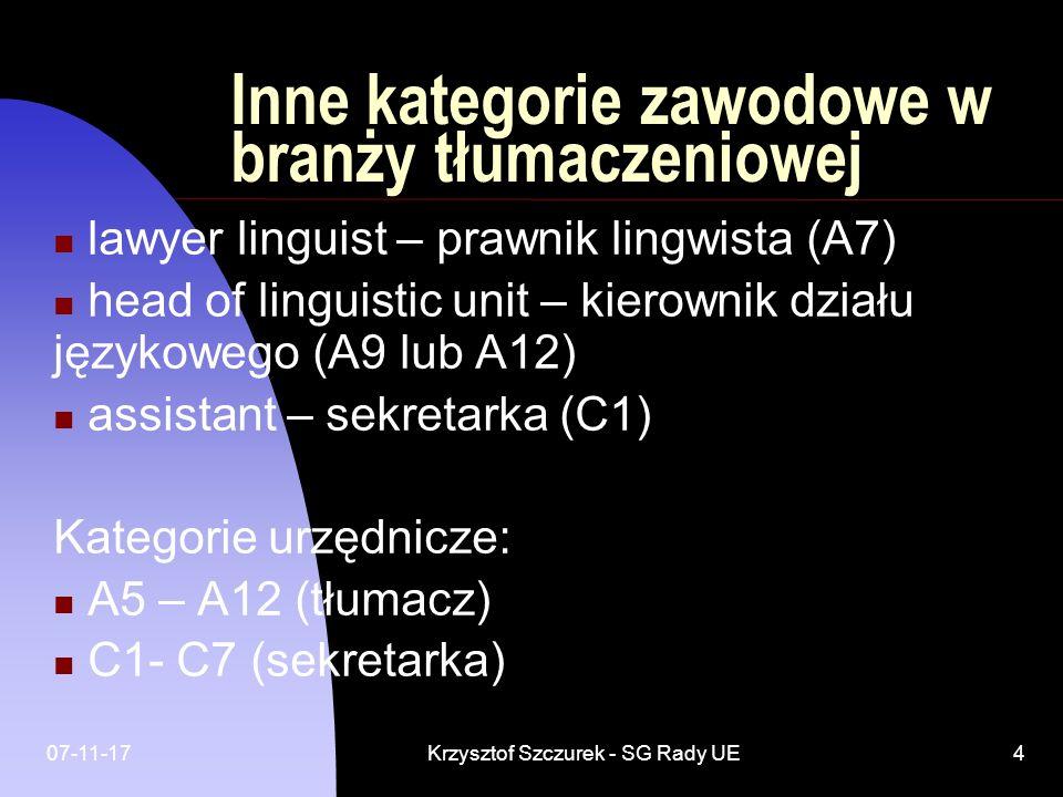 07-11-17Krzysztof Szczurek - SG Rady UE4 Inne kategorie zawodowe w branży tłumaczeniowej lawyer linguist – prawnik lingwista (A7) head of linguistic u
