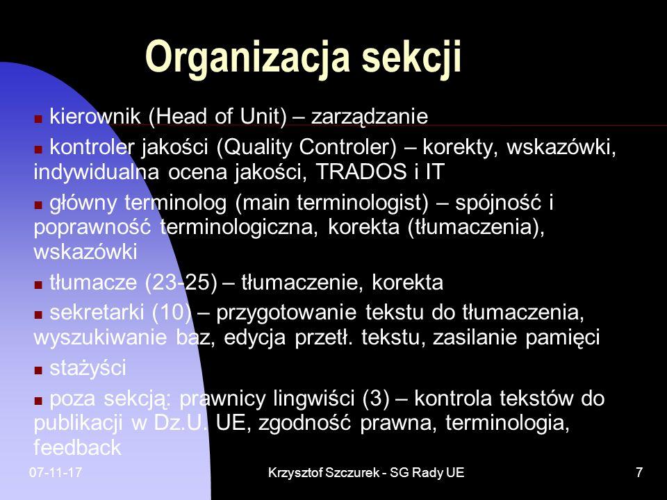 07-11-17Krzysztof Szczurek - SG Rady UE7 Organizacja sekcji kierownik (Head of Unit) – zarządzanie kontroler jakości (Quality Controler) – korekty, ws