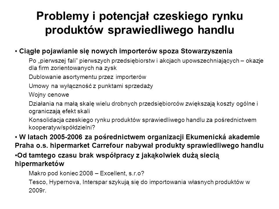 Problemy i potencjał czeskiego rynku produktów sprawiedliwego handlu Ciągłe pojawianie się nowych importerów spoza Stowarzyszenia Po pierwszej fali pi