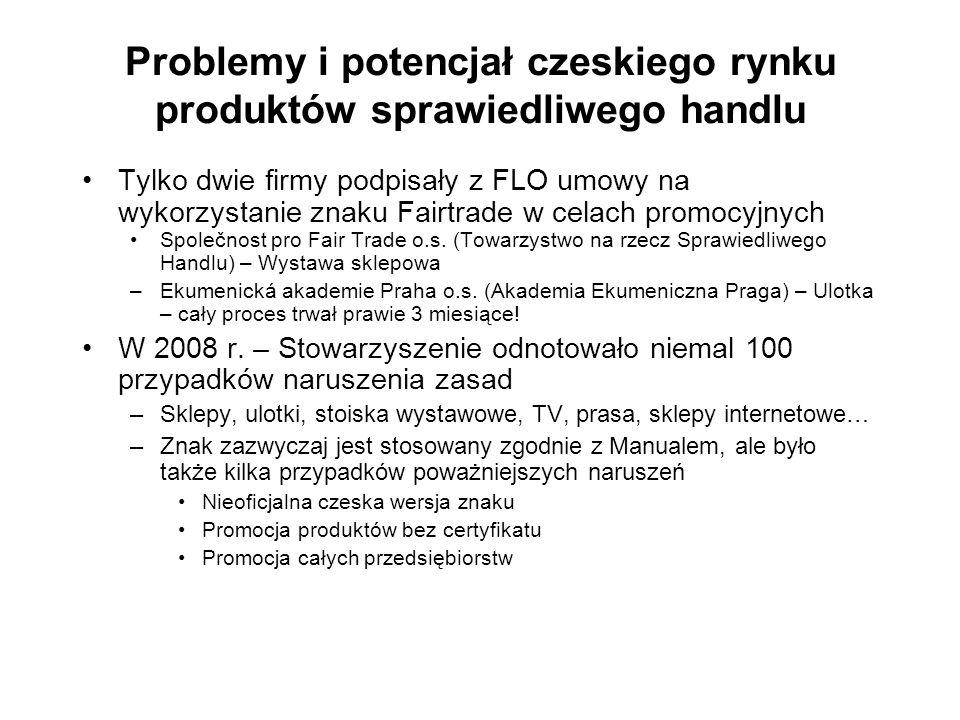 Problemy i potencjał czeskiego rynku produktów sprawiedliwego handlu Tylko dwie firmy podpisały z FLO umowy na wykorzystanie znaku Fairtrade w celach