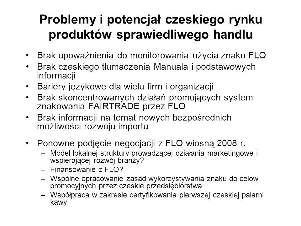 Brak upoważnienia do monitorowania użycia znaku FLO Brak czeskiego tłumaczenia Manuala i podstawowych informacji Bariery językowe dla wielu firm i org