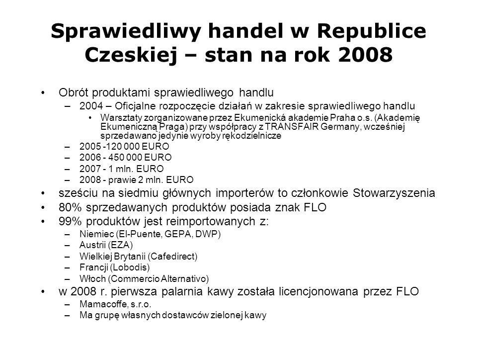 Sprawiedliwy handel w Republice Czeskiej – stan na rok 2008 Obrót produktami sprawiedliwego handlu –2004 – Oficjalne rozpoczęcie działań w zakresie sp