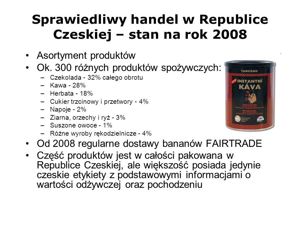 Sprawiedliwy handel w Republice Czeskiej – stan na rok 2008 Asortyment produktów Ok. 300 różnych produktów spożywczych: –Czekolada - 32% całego obrotu