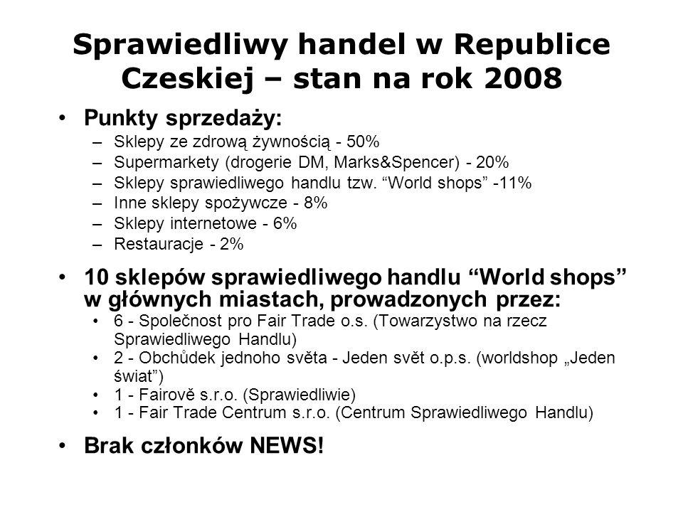 Sprawiedliwy handel w Republice Czeskiej – stan na rok 2008 Punkty sprzedaży: –Sklepy ze zdrową żywnością - 50% –Supermarkety (drogerie DM, Marks&Spen