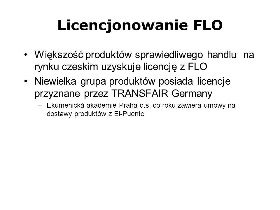 Licencjonowanie FLO Większość produktów sprawiedliwego handlu na rynku czeskim uzyskuje licencję z FLO Niewielka grupa produktów posiada licencje przy