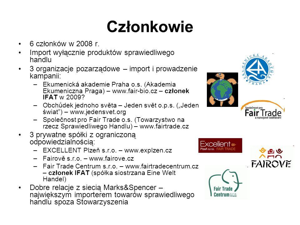 Członkowie 6 członków w 2008 r. Import wyłącznie produktów sprawiedliwego handlu 3 organizacje pozarządowe – import i prowadzenie kampanii: –Ekumenick