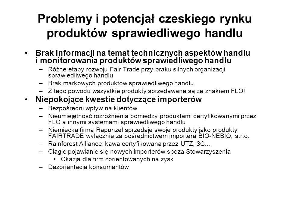 Problemy i potencjał czeskiego rynku produktów sprawiedliwego handlu Brak informacji na temat technicznych aspektów handlu i monitorowania produktów s