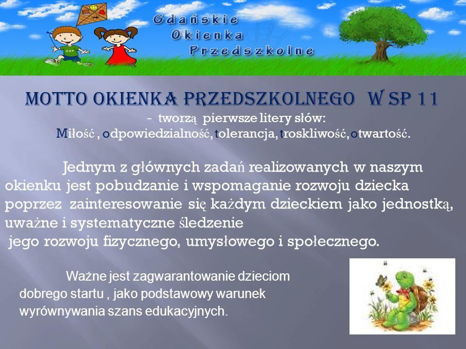 MOTTO Okienka Przedszkolnego w SP 11 - tworz ą pierwsze litery s ł ów: Mi ł o ść, odpowiedzialno ść, tolerancja, troskliwo ść, otwarto ść. Jednym z g