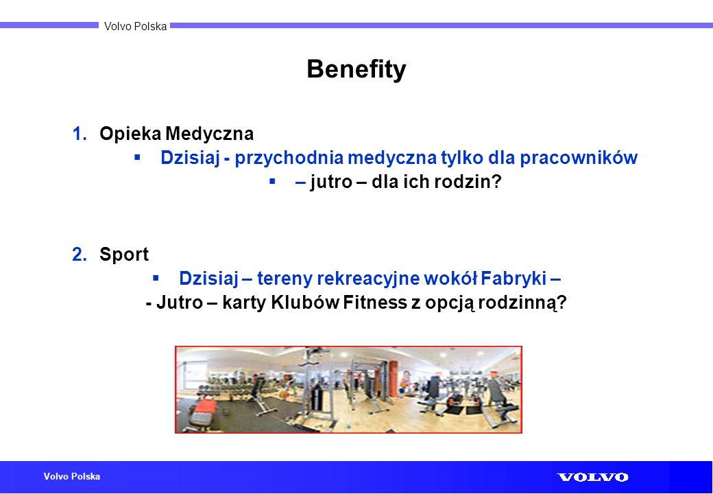 Volvo Polska Benefity 1.Opieka Medyczna Dzisiaj - przychodnia medyczna tylko dla pracowników – jutro – dla ich rodzin? 2.Sport Dzisiaj – tereny rekrea