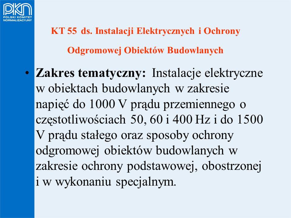 KT 55 ds. Instalacji Elektrycznych i Ochrony Odgromowej Obiektów Budowlanych Zakres tematyczny: Instalacje elektryczne w obiektach budowlanych w zakre