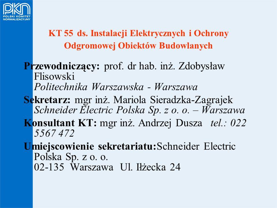 KT 55 ds. Instalacji Elektrycznych i Ochrony Odgromowej Obiektów Budowlanych Przewodniczący: prof. dr hab. inż. Zdobysław Flisowski Politechnika Warsz