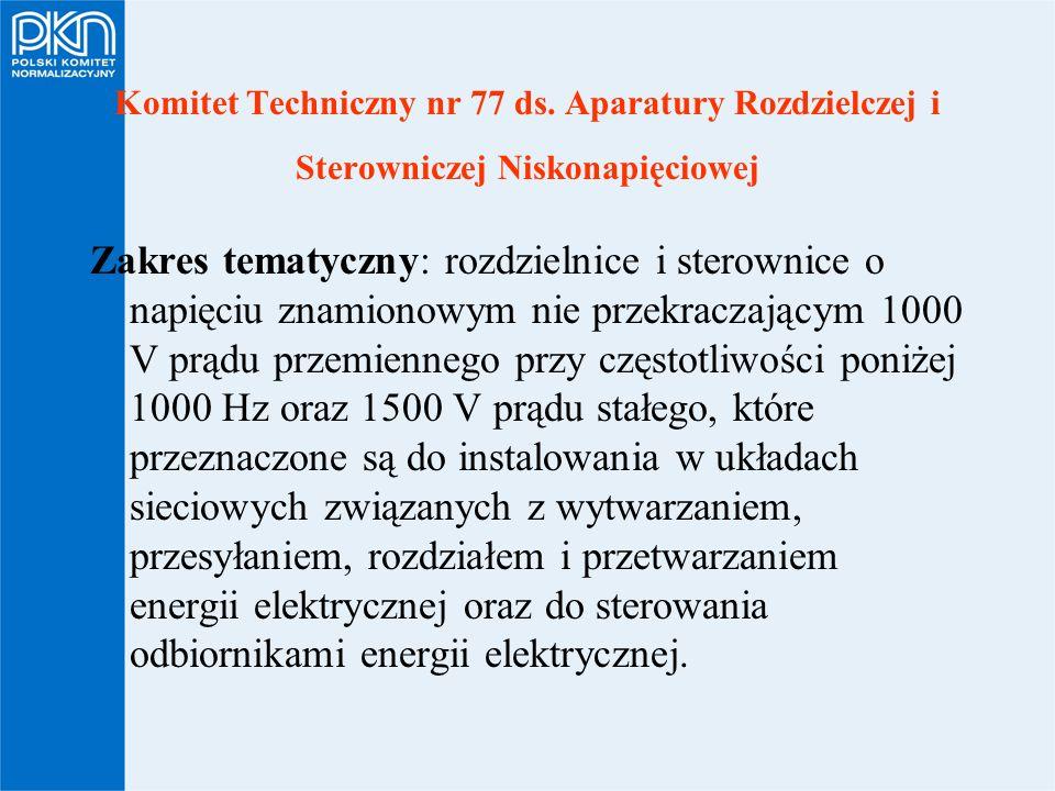 Komitet Techniczny nr 77 ds. Aparatury Rozdzielczej i Sterowniczej Niskonapięciowej Zakres tematyczny: rozdzielnice i sterownice o napięciu znamionowy