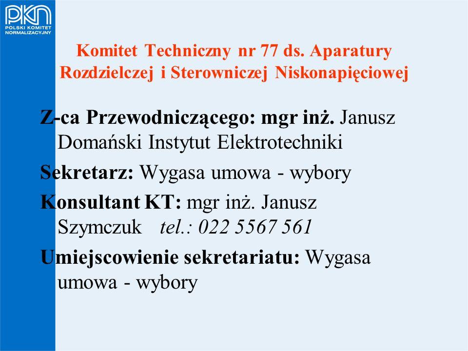 Komitet Techniczny nr 77 ds. Aparatury Rozdzielczej i Sterowniczej Niskonapięciowej Z-ca Przewodniczącego: mgr inż. Janusz Domański Instytut Elektrote