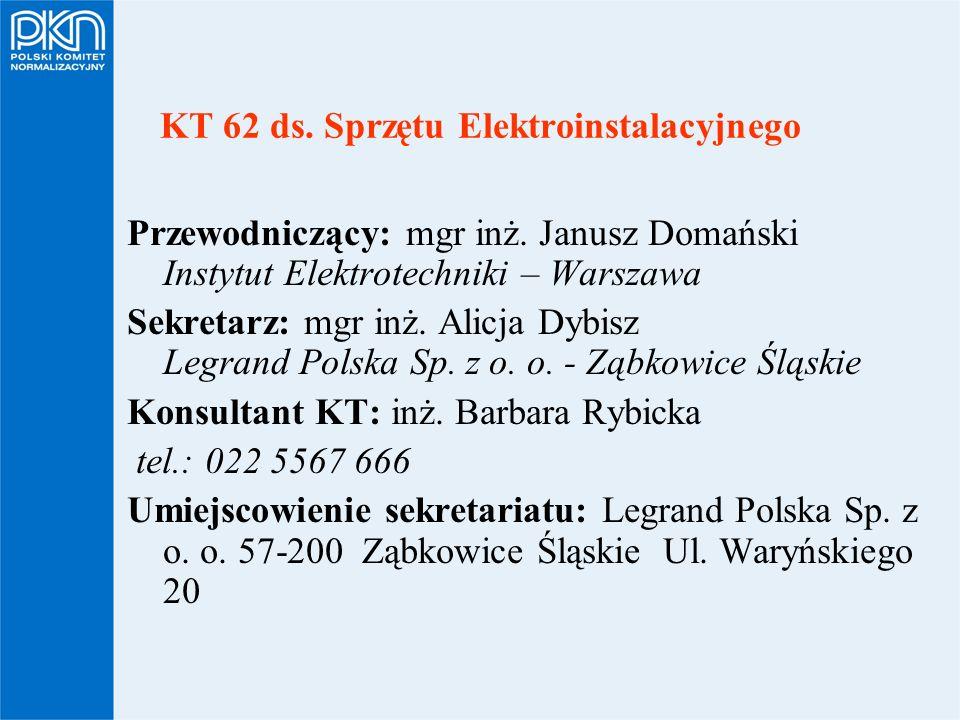 KT 62 ds. Sprzętu Elektroinstalacyjnego Przewodniczący: mgr inż. Janusz Domański Instytut Elektrotechniki – Warszawa Sekretarz: mgr inż. Alicja Dybisz