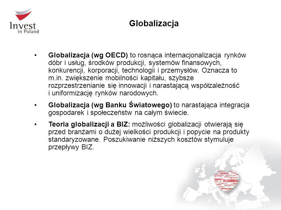 Globalizacja Globalizacja (wg OECD) to rosnąca internacjonalizacja rynków dóbr i usług, środków produkcji, systemów finansowych, konkurencji, korporacji, technologii i przemysłów.