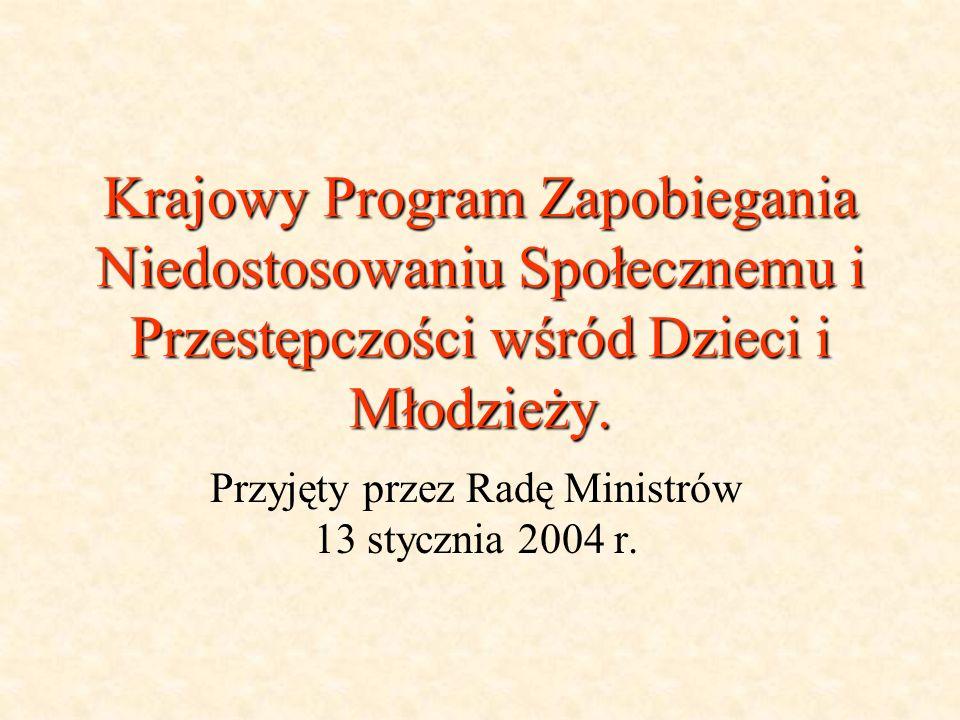 Krajowy Program Zapobiegania Niedostosowaniu Społecznemu i Przestępczości wśród Dzieci i Młodzieży. Przyjęty przez Radę Ministrów 13 stycznia 2004 r.