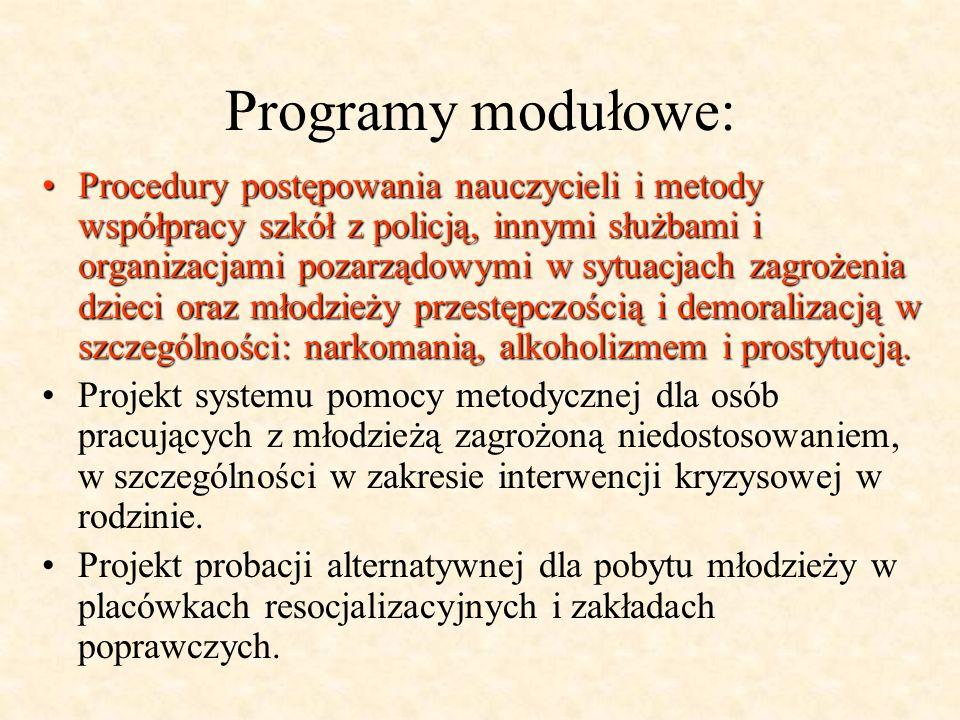 Programy modułowe: Procedury postępowania nauczycieli i metody współpracy szkół z policją, innymi służbami i organizacjami pozarządowymi w sytuacjach