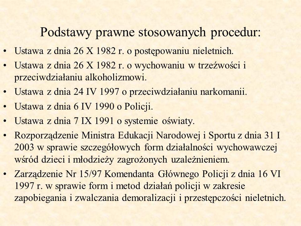 Podstawy prawne stosowanych procedur: Ustawa z dnia 26 X 1982 r. o postępowaniu nieletnich. Ustawa z dnia 26 X 1982 r. o wychowaniu w trzeźwości i prz
