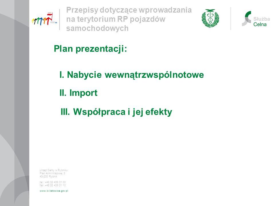 Przepisy dotyczące wprowadzania na terytorium RP pojazdów samochodowych Urząd Celny w Rybniku Plac Armii Krajowej 3 43-200 Rybnik tel.: +48 32 439 01 00 fax :+48 32 439 01 10 www.ic.katowice.gov.pl I.