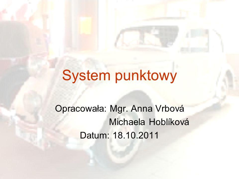 System punktowy Opracowała: Mgr. Anna Vrbová Michaela Hoblíková Datum: 18.10.2011