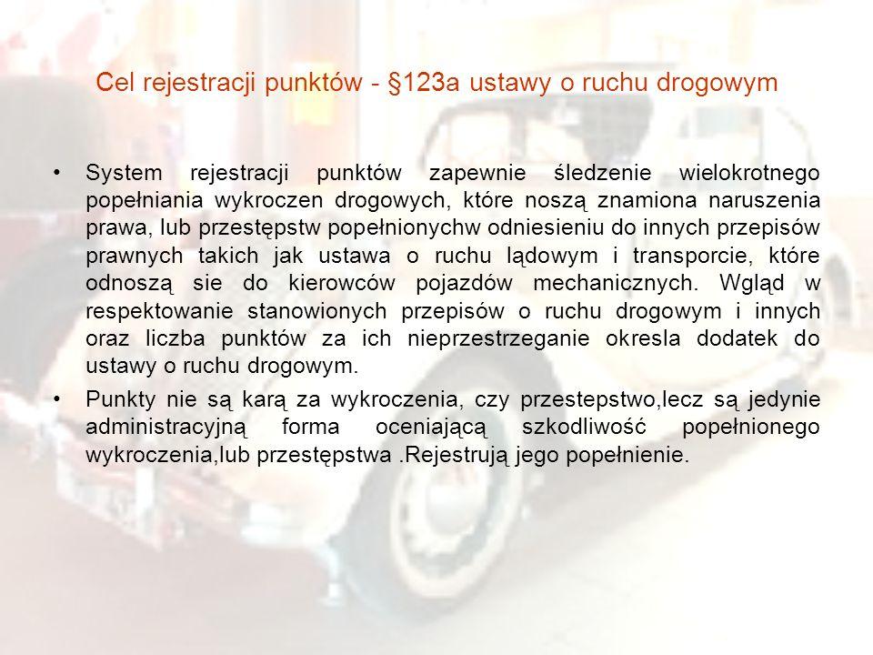 Cel rejestracji punktów - §123a ustawy o ruchu drogowym System rejestracji punktów zapewnie śledzenie wielokrotnego popełniania wykroczen drogowych, k
