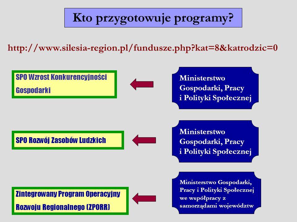 Kto przygotowuje programy? SPO Wzrost Konkurencyjności Gospodarki SPO Rozwój Zasobów Ludzkich Zintegrowany Program Operacyjny Rozwoju Regionalnego (ZP