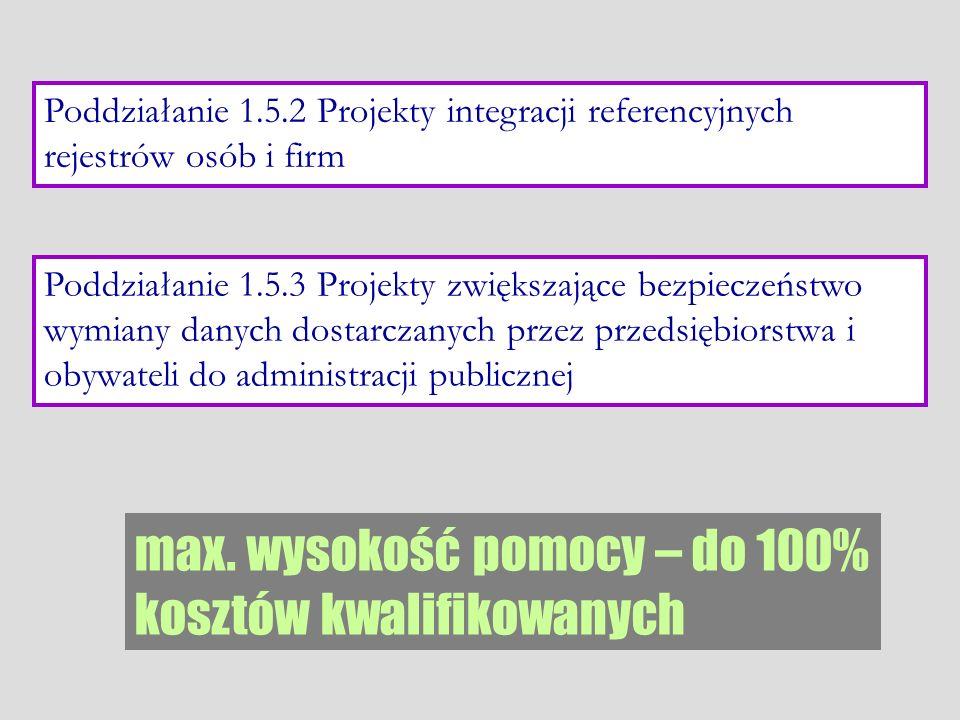 Poddziałanie 1.5.2 Projekty integracji referencyjnych rejestrów osób i firm Poddziałanie 1.5.3 Projekty zwiększające bezpieczeństwo wymiany danych dos