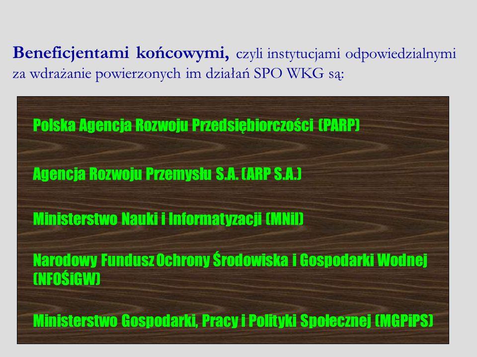 Beneficjentami końcowymi, czyli instytucjami odpowiedzialnymi za wdrażanie powierzonych im działań SPO WKG są: Polska Agencja Rozwoju Przedsiębiorczoś