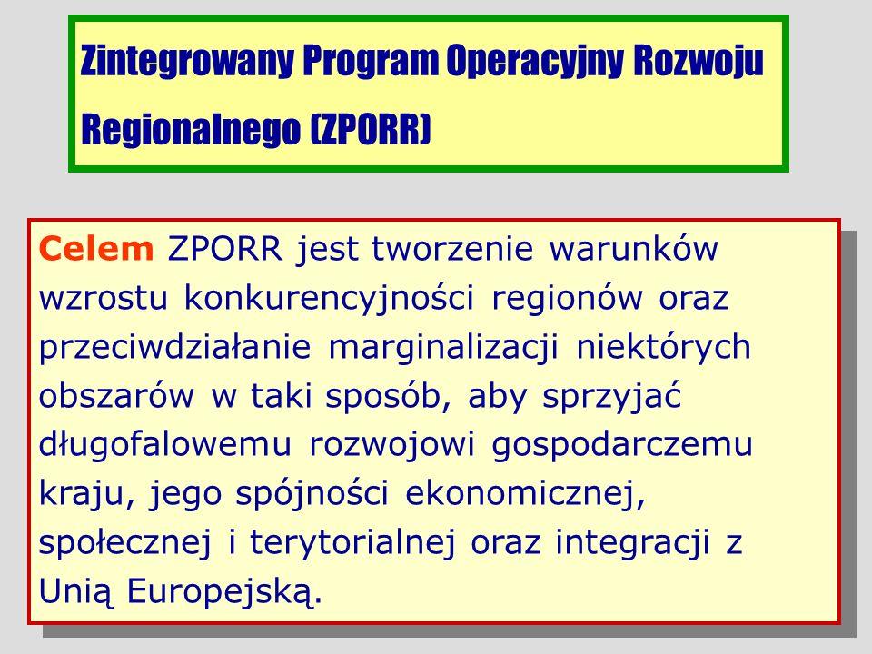 Zintegrowany Program Operacyjny Rozwoju Regionalnego (ZPORR) Celem ZPORR jest tworzenie warunków wzrostu konkurencyjności regionów oraz przeciwdziałan