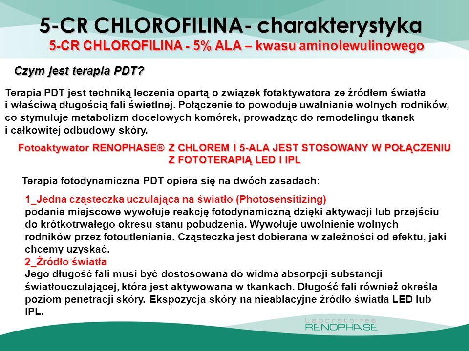 5-CR CHLOROFILINA- 5% ALA – kwasu aminolewulinowego 5-CR CHLOROFILINA - 5% ALA – kwasu aminolewulinowego Czym jest terapia PDT? Terapia PDT jest techn