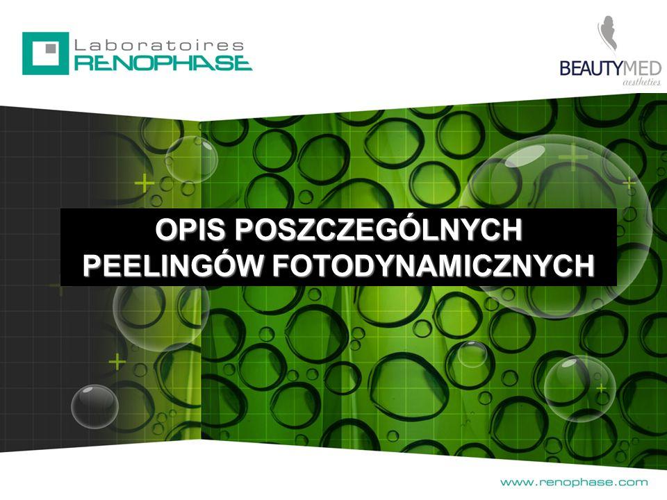 3 SIŁY 3 DZIAŁANIA 3 METODY R RR Redpeel - brak elastyczności Skład: - diosgenina - kwas glikolowy - kwas salicylowy - genisteina - karnityna - DMAE - prekursor kwasu hialuronowego BIOpeel Red – zmarszczki Skład: - prekursor kwasu hialuronowego - retikulowany kwas glikolowy - fitosterole - omega 3 i 6 - DMAE 5-CR Chlorofilina – całkowita przebudowa skóry, efekt liftingu Skład: - chlorofilina - 5-ALA - Co Q10 - diosgenina - prekursor kwasu hialurnowego