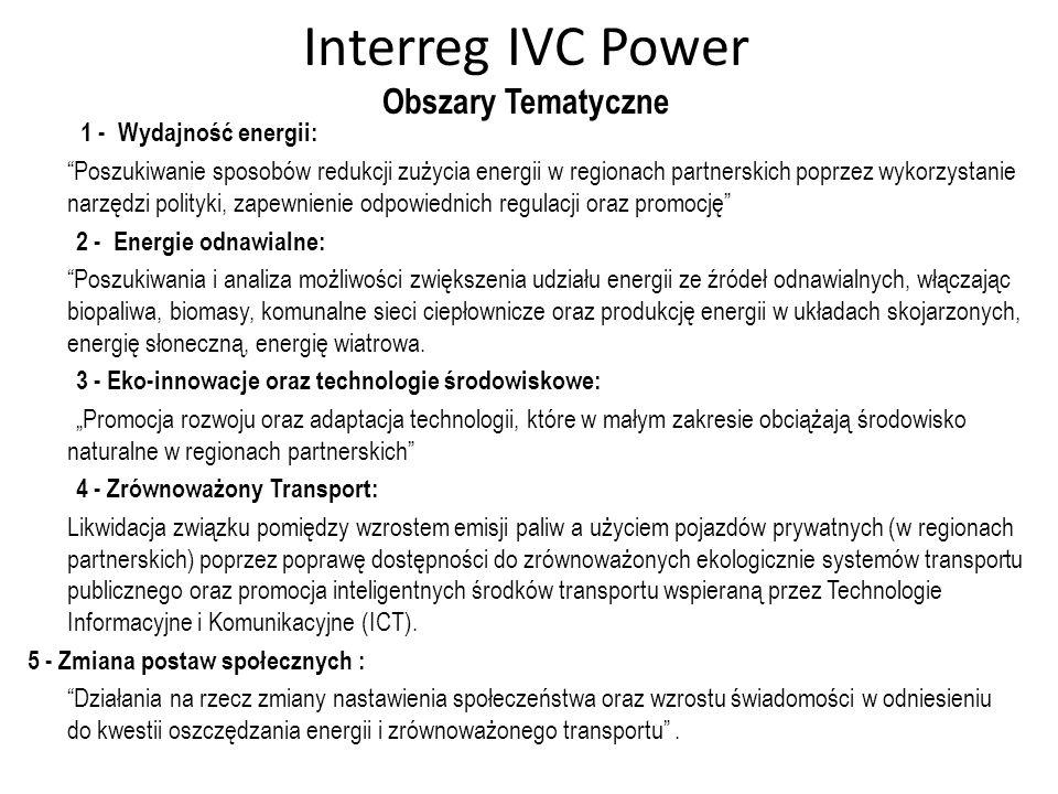 Interreg IVC Power Obszary Tematyczne 1 - Wydajność energii: Poszukiwanie sposobów redukcji zużycia energii w regionach partnerskich poprzez wykorzyst
