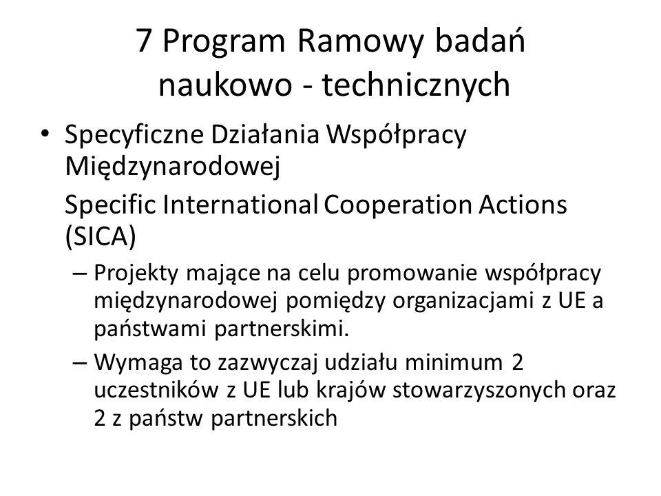 7 Program Ramowy badań naukowo - technicznych Specyficzne Działania Współpracy Międzynarodowej Specific International Cooperation Actions (SICA) – Pro