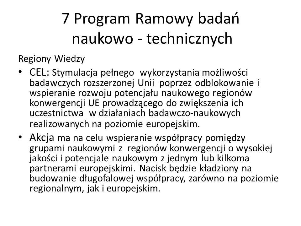 7 Program Ramowy badań naukowo - technicznych Regiony Wiedzy CEL: Stymulacja pełnego wykorzystania możliwości badawczych rozszerzonej Unii poprzez odb