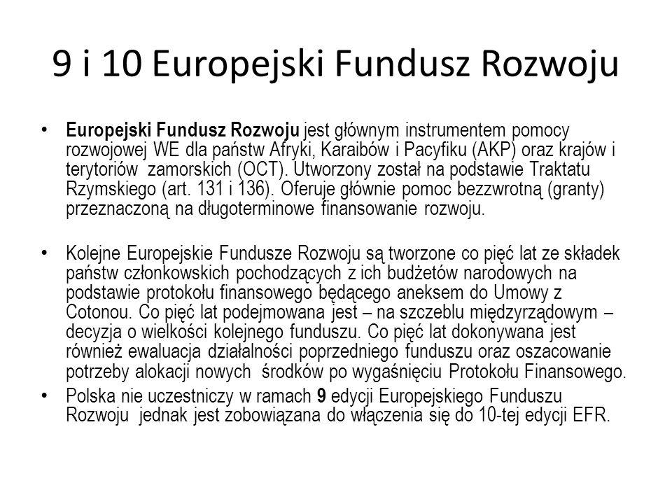 9 i 10 Europejski Fundusz Rozwoju Europejski Fundusz Rozwoju jest głównym instrumentem pomocy rozwojowej WE dla państw Afryki, Karaibów i Pacyfiku (AK