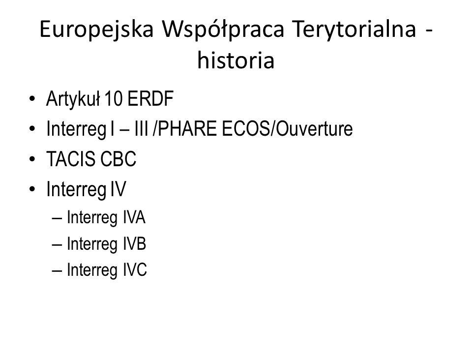Europejska Współpraca Terytorialna - historia Artykuł 10 ERDF Interreg I – III /PHARE ECOS/Ouverture TACIS CBC Interreg IV – Interreg IVA – Interreg I