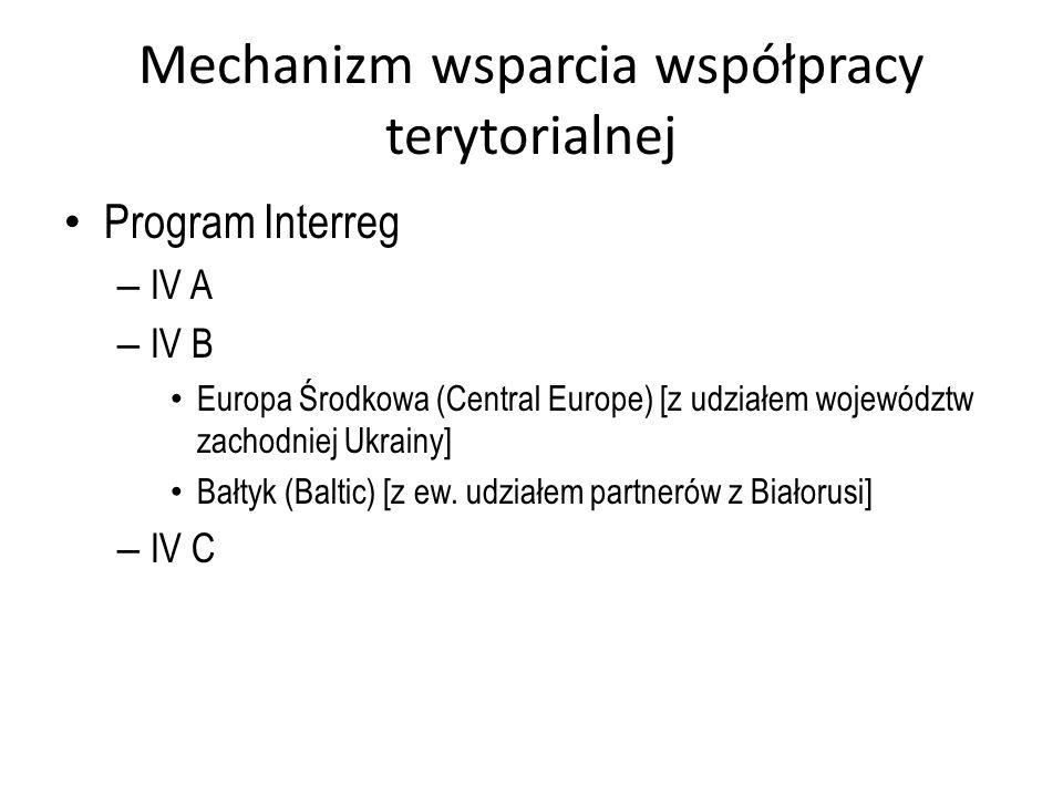 Mechanizm wsparcia współpracy terytorialnej Program Interreg – IV A – IV B Europa Środkowa (Central Europe) [z udziałem województw zachodniej Ukrainy]