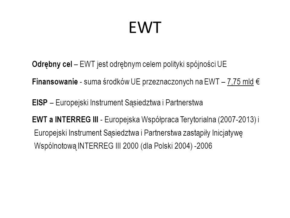 EWT Odrębny cel – EWT jest odrębnym celem polityki spójności UE Finansowanie - suma środków UE przeznaczonych na EWT – 7,75 mld EISP – Europejski Inst