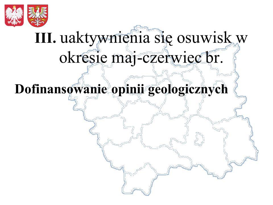 III. uaktywnienia się osuwisk w okresie maj-czerwiec br. Dofinansowanie opinii geologicznych